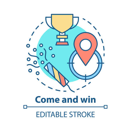 Come and win concept icon. Victory idea thin line illustration. Game winner award. Success, accomplishment and triumph. Goal, target achieving. Vector isolated outline drawing. Editable stroke