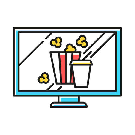Movies and television color icon. Watching films, tv shows. Modern online video technology. Popcorn and drinks. E commerce department, shopping categories. Isolated vector illustration Vektorové ilustrace
