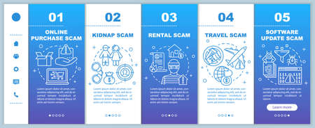 Scam types onboarding mobile web pages vector template. Responsive smartphone website interface idea with linear illustrations. Kidnap and rental scam. Webpage walkthrough step screens. Color concept  イラスト・ベクター素材