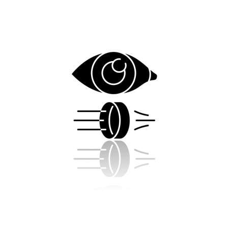 Óptica icono de glifo negro de sombra. Rama de física de la luz. Investigación científica en optometría y oftalmología. Efecto físico de reflexión y refracción de rayos de luz. Ilustración de vector aislado