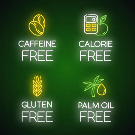Product free ingredient neon light icons set. No calories, caffeine, palm oil, gluten. Low calories meals. Dietary without allergens and sweeteners. Glowing signs. Vector isolated illustrations Ilustrace