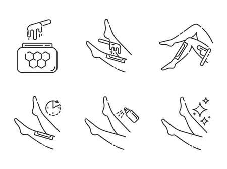 Conjunto de iconos lineales de depilación de Shin. Depilación de piernas con proceso de tiras de cera caliente con miel natural. Pasos de depilación corporal. Símbolos de contorno de línea fina. Ilustraciones de contorno de vector aislado. Trazo editable Ilustración de vector