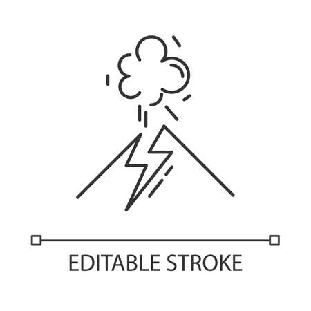 Volcanic eruption linear icon. Geothermal power. Active volcano explosion. Smoke emission from mountain. Thin line illustration. Contour symbol. Vector isolated outline drawing. Editable stroke
