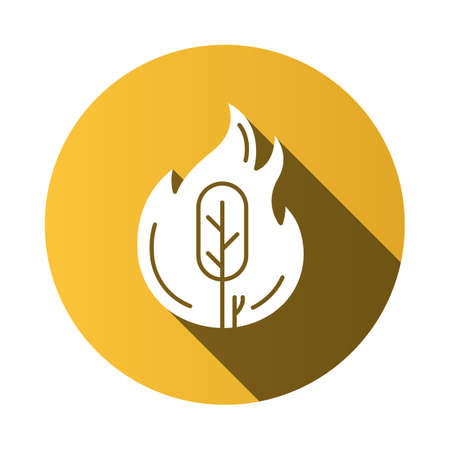 Wildfire yellow flat design long shadow glyph icon. Burning tree. Natural disaster. Ecological problem. Human negligence, arson. Danger of fire in forest. Vector silhouette illustration Illustration