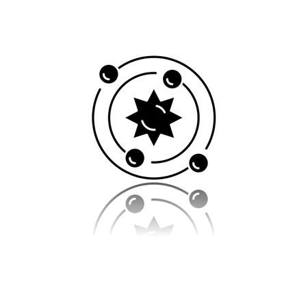 Astrophysics drop shadow black glyph icon. tronomy branch. Study of universe, stars, planets, galaxies. Astrophysical discoveries. Cosmology, Solar System science. Isolated vector illustration