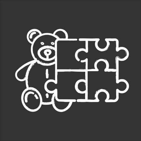 Toys and hobbies chalk icon. Products for babies, children. Kids game types. Teddy bear and puzzle. E commerce department, shopping categories. Isolated vector chalkboard illustration Illustration