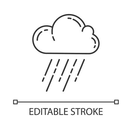 Downpour linear icon. Rainstorm. Cloud, heavy rainfall. Pouring rain. Weather event. Monsoon. Rainy season. Thin line illustration. Contour symbol. Vector isolated outline drawing. Editable stroke