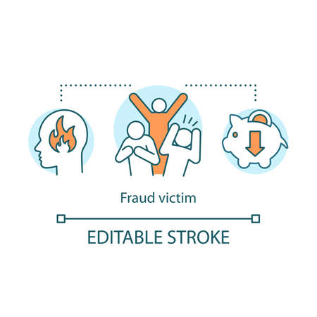 Fraud victim icon. Scam incident idea thin line illustration. Losing money, property, goods. Tricking and deceiving. Reporting criminal action. Vector isolated outline drawing. Editable stroke