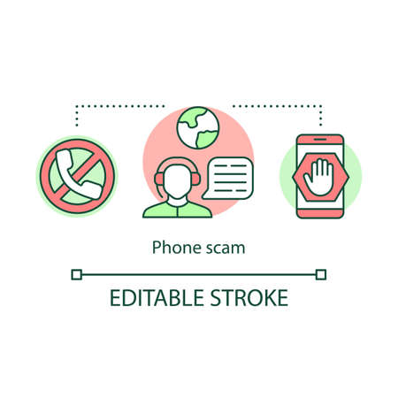 Phone scam icon. Telephone fraud incident idea thin line illustration. Unknown mobile number calls. Tricking and deceiving. Suspicious messages. Vector isolated outline drawing. Editable stroke