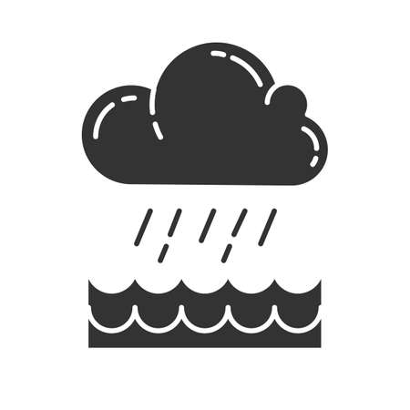 Downpour glyph icon. Cloud, heavy rainfall, incoming water. Rainstorm. Torrential, pouring rain over water. Meteorological phenomenon. Silhouette symbol. Negative space. Vector isolated illustration