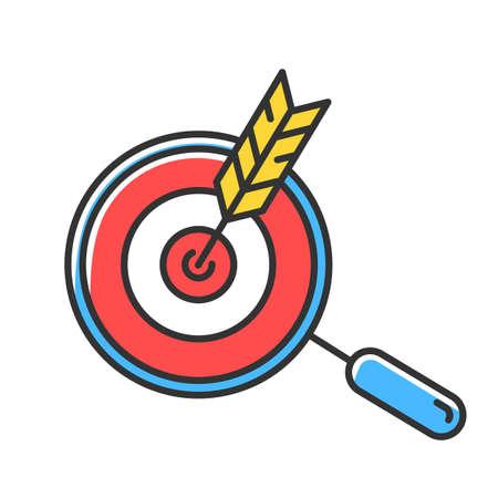 Scegli l'icona del colore rosso di nicchia. La freccia ha colpito il bersaglio. Ricerca e raggiungimento degli obiettivi. Strategia di attrazione del cliente. Pubblicità mirata. Implementazione di successo del business plan. Illustrazione vettoriale isolato