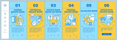 Escape room onboarding mobile web pages vector template. Quest types. Responsive smartphone website interface idea with linear illustrations. Webpage walkthrough step screens. Color concept