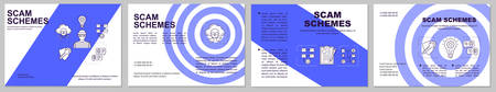 Scam schemes blue brochure template. Fraud strategy flyer, booklet, leaflet design with linear illustrations. Plan of crime. Vector page layouts for magazines, annual reports, advertising posters Illusztráció