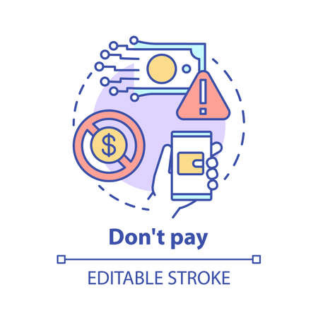 Dont pay concept icon. Online payment fraud danger. Protection of personal information. Financial scam risk idea thin line illustration. Vector isolated outline drawing. Editable stroke Ilustrace
