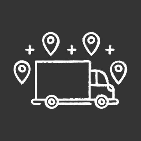 Delivery option chalk icon. Online order tracking. E commerce concept. Fast shipping truck with location marks. Delivery service. Logistics and distribution. Isolated vector chalkboard illustration Illustration