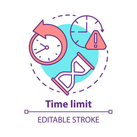 Time limit concept icon. Game timer idea thin line illustration. Different clock types. Stopwatch, hourglass. Time management. Vector isolated outline drawing. Time frame warning icon. Editable stroke