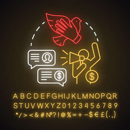Charity scam neon light concept icon. Asking for donation. Fake philanthropy. Request for finance contributions idea. Glowing sign with alphabet, numbers and symbols. Vector isolated illustration