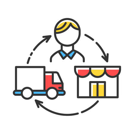 Dropshipping color icon. Drop shipping. Order and product delivery to customer. Goods transportation. Distributive trades. E commerce. Sales business. Isolated vector illustration Çizim