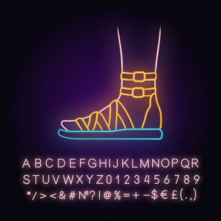 Gladiator sandals neon light icon. Woman stylish footwear design. Female casual shoes, modern summer flats. Glowing sign with alphabet, numbers and symbols. Vector isolated illustration
