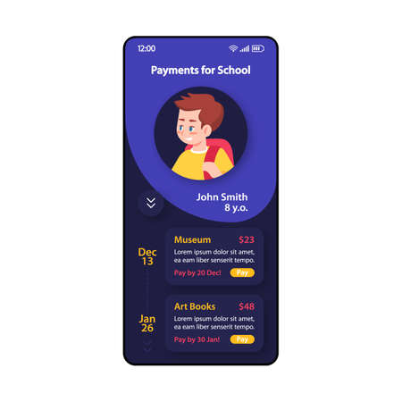 Payments for school smartphone interface vector template. Mobile app page purple, dark blue design layout. Mobile banking screen. Flat UI for application. Online paying. Private school. Phone display