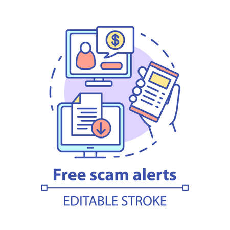 Free scam alerts concept icon. Information about financial criminal schemes. Cyber security advice. Tips about frauds idea thin line illustration. Vector isolated outline drawing. Editable stroke Illustration