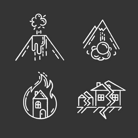 Natural disaster chalk icons set. Destructive force of Earth. Volcanic eruption, earthquake, fire, avalanche. Insurance case. Emergency management. Isolated vector chalkboard illustrations