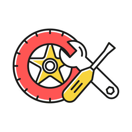 Auto parts color icon. Car mechanic. Wheel and instruments tools. Repair service maintenance concept. E commerce department, online shopping categories. Isolated vector illustration Banco de Imagens - 133496122