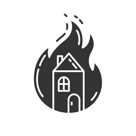 House on fire glyph icon. Burning building. Arson of property. Home combustion. Dwelling conflagration. Ignoring fire safety regulation. Silhouette symbol. Negative space. Vector isolated illustration Stock Illustratie