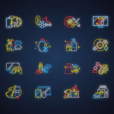 E commerce departments neon light icons set. Online shopping categories. Beauty, personal care. Fashion. Jewelry, watches. Auto parts. Sports and outdoors. Glowing signs. Vector isolated illustrations