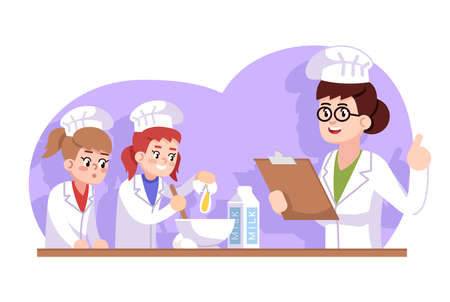 Culinary school for kids flat vector illustration. ?hildren cooking class. Extracurricular activity. Chef reading recipe, girls mixing products. Mom teaching daughters to cook cartoon characters