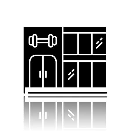 Gym building drop shadow black glyph icon. Two-storey fitness center exterior. City sport club facade. Modern gymnasium, fitness hall. Training premises. Vector isolated illustration