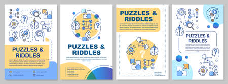 Puzzles and riddles brochure template. Escape room flyer, booklet, leaflet print, cover design with linear illustrations. Vector page layouts for magazines, annual reports, advertising posters