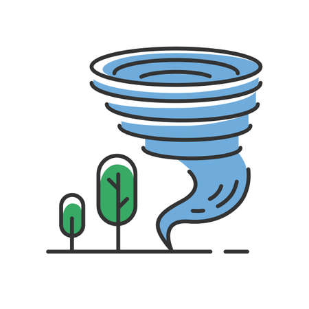 Tornado blue color icon. Twister. Cyclone. Natural disaster. Extreme weather condition. Destructive whirling wind. Atmospheric phenomenon. Storm spiral funnel and trees. Isolated vector illustration