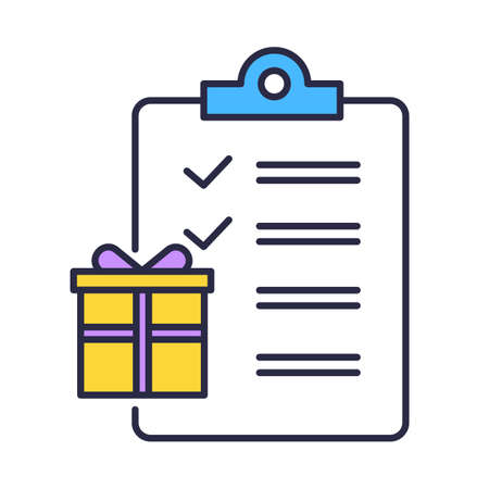 Gift list color icon. Buying presents. Merchandise and consumerism. Searching and preparing presents for holidays. Party celebration organization. Writing wish list. Isolated vector illustration