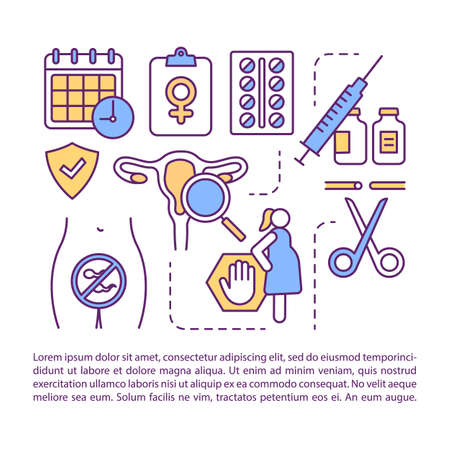Birth control article page vector template. Pregnancy protection. Female contraception. Brochure, magazine, booklet design element with linear icons. Print design. Concept illustrations with text