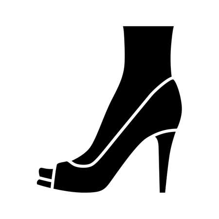 Peep toe high heels glyph icon. Woman stylish footwear design. Female casual shoes, luxury summer stilettos. Party clothing accessory. Silhouette symbol. Negative space. Vector isolated illustration Çizim