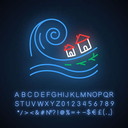 Tsunami neon light icon. Groundswell. Ocean storm washing settlement. Sea wave destruct houses. Natural catastrophe. Glowing sign with alphabet, numbers and symbols. Vector isolated illustration Foto de archivo - 133538812