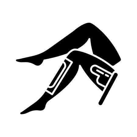 Leg waxing glyph icon. Shin hair removal procedure. Depilation with natural soft hot wax, sugaring. Professional beauty treatment. Silhouette symbol. Negative space. Vector isolated illustration Ilustrace