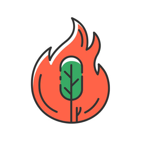 Wildfire red color icon. Burning tree. Natural disaster. Ecological problem. Human negligence, arson. Environmental protection. Danger of fire in forest. Isolated vector illustration