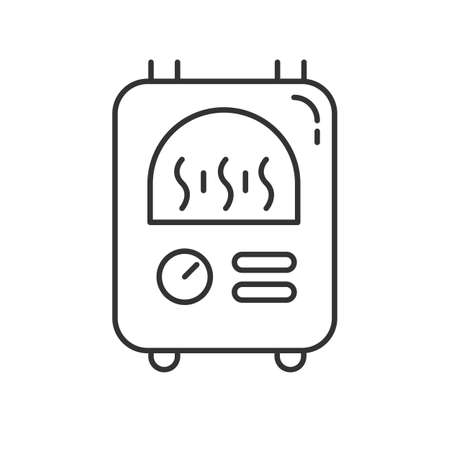 Central heating linear icon. Warm flat, comfortable apartment temperature. Utility service. Building heat equipment. Thin line contour symbols. Isolated vector outline illustration. Editable stroke