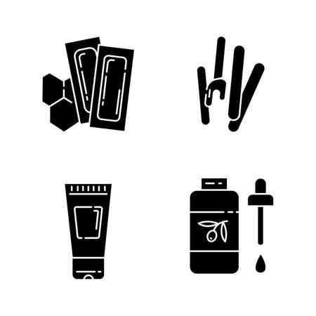 Conjunto de iconos de glifo de herramientas de depilación. Tiras de cera suave y caliente con espátula. Equipo de depilación. Loción corporal, aceite para depilación. Cosméticos de tratamiento de belleza. Símbolos de silueta. Vector ilustración aislada Ilustración de vector
