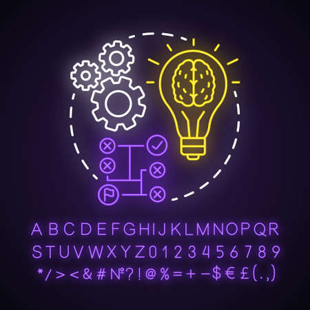Logic neon light concept icon. Thinking process idea. Rational solutions, ideas. Situation analysis. Strategy, algorithm. Glowing sign with alphabet, numbers and symbols. Vector isolated illustration