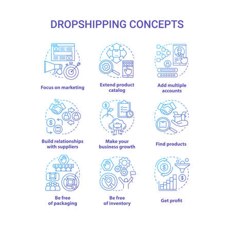 Dropshipping blue concept icons set. Online delivery service idea thin line illustrations. Focus on marketing, find products, make your business growth, get profit. Vector isolated outline drawings Stock Illustratie