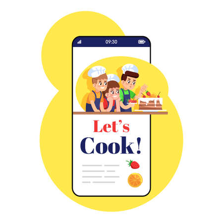 Lets cook smartphone app screen. Mobile phone display with cartoon characters design mockup. ?hildren cooking game. Culinary school for kids application telephone interface