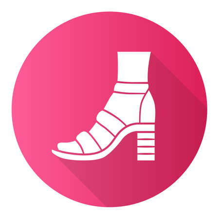 Block high heels pink flat design long shadow glyph icon. Woman stylish footwear. Female casual shoes, summer sandals with ankle strap. Fashionable clothing accessory. Vector silhouette illustration Ilustrace
