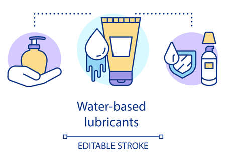 Water based lubricants concept icon. Moistening agent for human sexual acts. Lube for coitus. Moisturizing cosmetics idea thin line illustration. Vector isolated outline drawing. Editable stroke