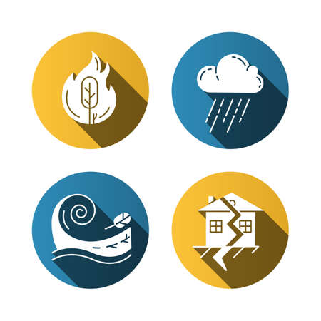 Natural disaster flat design long shadow glyph icons set. Global catastrophes. Wildfire, earthquake, tsunami, downpour. Destructive force of nature. Vector silhouette illustration