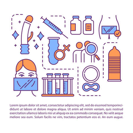 Sexual health article page vector template. Contraception methods. Prevention of STIs. Brochure, magazine, booklet design element with linear icons. Print design. Concept illustrations with text