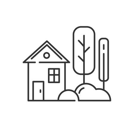 Kleines Haus mit linearem Gartensymbol. Einstöckiges Dorf und Hof. Fassade des Stadthauses. Landhaus außen. Dünne Linienkontursymbole. Isolierte Vektor-Umriss-Darstellung. Bearbeitbarer Strich Vektorgrafik