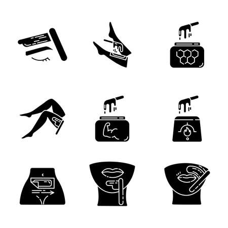 Waxing glyph icons set. Shin, leg, upper lip, chin hair removal. Cold, hot wax in jar. Depilation equipment. Professional beauty treatment cosmetics. Silhouette symbols. Vector isolated illustration